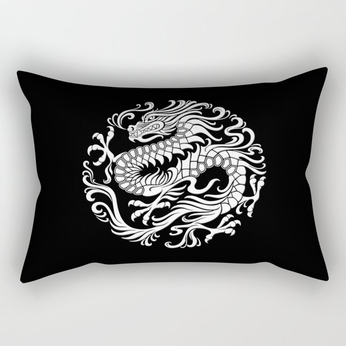 Traditional White and Black Chinese Dragon Circle Rectangular Pillow