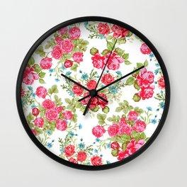 Botanical magenta teal green vintage vector roses floral Wall Clock