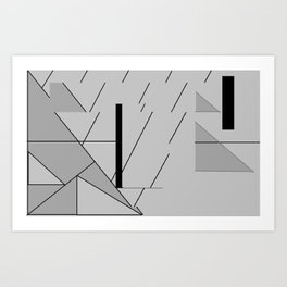Grey Triangles Pattern Art Print
