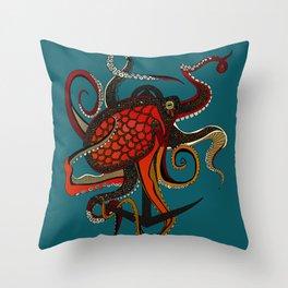 octopus ink teal Throw Pillow