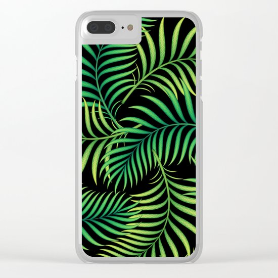 Night Jungle. Tropical Pattern / Palm leaves Clear iPhone Case