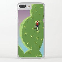 Climbing Cactus Clear iPhone Case