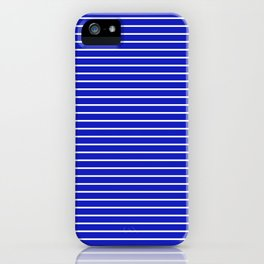 Royal Blue and White Horizontal Stripes iPhone Case