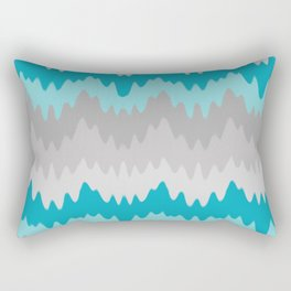 Teal Turquoise Blue Grey Gray Chevron Ombre Fade Zigzag Rectangular Pillow