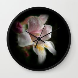 one apple blossom on black Wall Clock