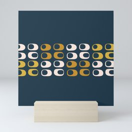 Midcentury Modern Pods Minimalist Abstract Pattern in Mustard, Pale Pink, and Navy Mini Art Print