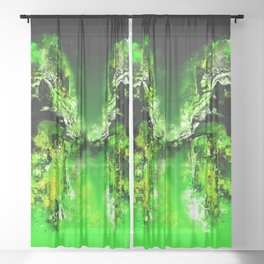 wolves hate monday splatter watercolor green Sheer Curtain