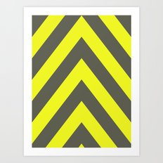 Chevrons warning sign Art Print