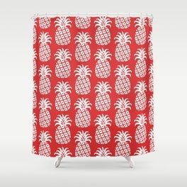 Mid Century Modern Pineapple Pattern Red Shower Curtain