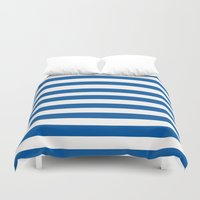 preppy Duvet Covers featuring Preppy Navy & White Stripe by Sweet Karalina