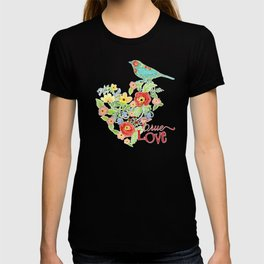 Mod Floral Striped Ranunculus Flower w Daisy Polka Dots and Wild Roses T-shirt