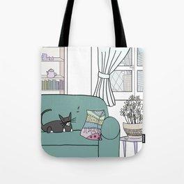 Cat and flies and sofa Tote Bag