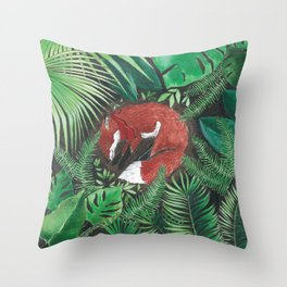 Bandito Fox Jungle Throw Pillow