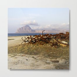 Sicilian Abandoned Port with Anchors Metal Print