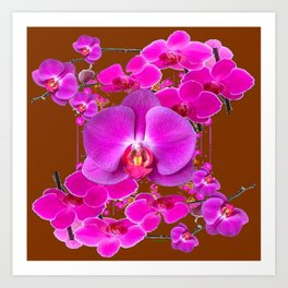Coffee Brown Color Abstracted Modern Purple Moth Orchids Art Print