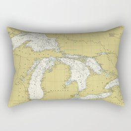Vintage Map of The Great Lakes (1979) Rectangular Pillow