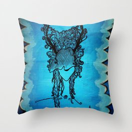 Woman of the Forest Throw Pillow