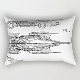 Batmobile Patent - Bat Mobile Art - Black And White Rectangular Pillow