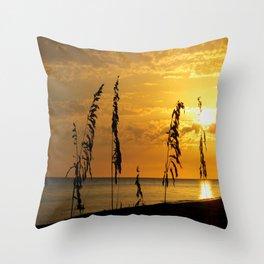 Golden Sea Oats Throw Pillow