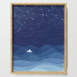 blue ocean waves, sailboat ocean stars Serving Tray