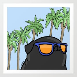 Black pug in California Art Print