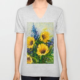 Sunflowers Oil Painting Unisex V-Neck