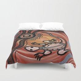 Aboriginal Art - Lizard Duvet Cover