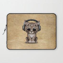 Cute Kitten Dj Wearing Headphones Laptop Sleeve