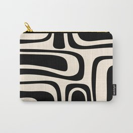 Palm Springs - Midcentury Modern Abstract Pattern in Black and Almond Cream  Carry-All Pouch