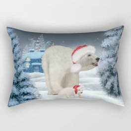 Wonderful polar bear mum with polar bear baby with christmas hat Rectangular Pillow