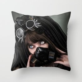 Cybergoth cyber girl black gas mask Throw Pillow