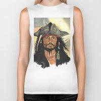 jack sparrow Biker Tanks featuring Captain Jack Sparrow by marysiak