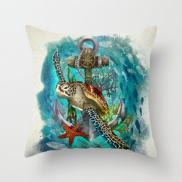 Turtle and Sea Throw Pillow