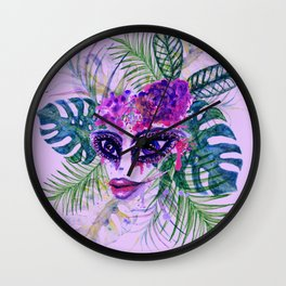 Purple Woman with Tropic leaves Wall Clock