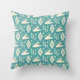 Mid Century Modern Boomerang Abstract Pattern Turquoise and Tan 261 Throw Pillow