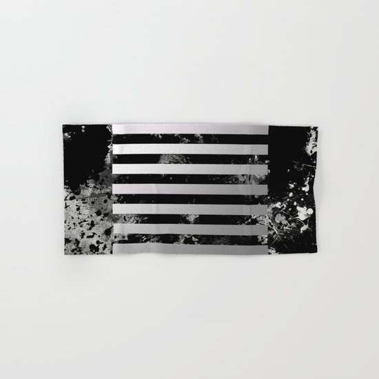 Industrial Action - Metallic, black and white, abstract, geometric, textured painting Hand & Bath Towel