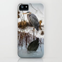Heron pose along the bank iPhone Case