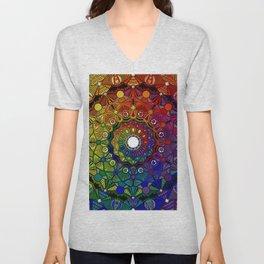 Mandala 46 - Psychedelic Mandala Rainbow series Unisex V-Neck