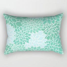 Minty Green Dahlias Rectangular Pillow