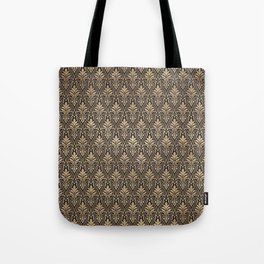 Chic Gold and Black Art Deco Leafy Damask Tote Bag
