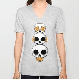 Cute Skulls No Evil II Unisex V-Neck