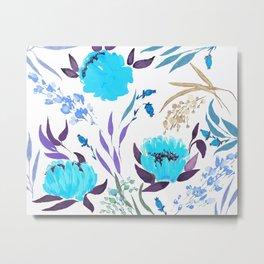 hand draw flower pattern - blue Metal Print