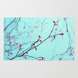Pink Spring Flowers on Aqua Blue Green Sky Rug