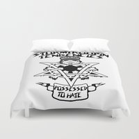three of the possessed Duvet Covers featuring Possessed to Hate by Ant Atomic