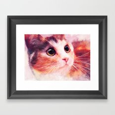 Innocent eyes (watercolor cat painting, art, aquarell) Framed Art Print