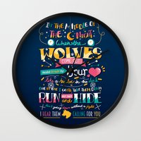 wolves Wall Clocks featuring Wolves by Art of Nanas