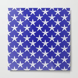 Starfishes (White & Navy Blue Pattern) Metal Print