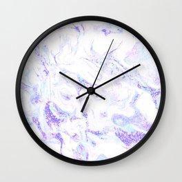Pastel Marble Purple Blue Glitter Wall Clock