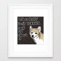 motivational Framed Art Prints featuring Motivational Doggy by Kuroiyagi