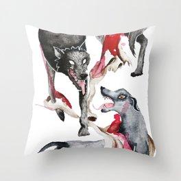 Gelert & the Wolf Throw Pillow